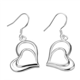 Wholesale Double Heart Silver Earrings - Best-selling 925 silver double heart earrings jewelry valentine free shipping 20pair lot