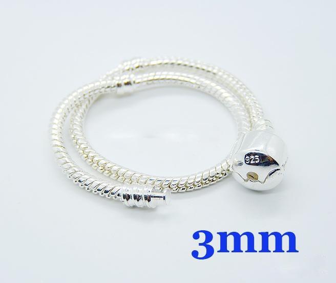 Chaude 925 argent 3mm liens chaîne ajustement européen perle bracelet 6.0 pouces ~ 9.0 pouces, peut être taille mixte
