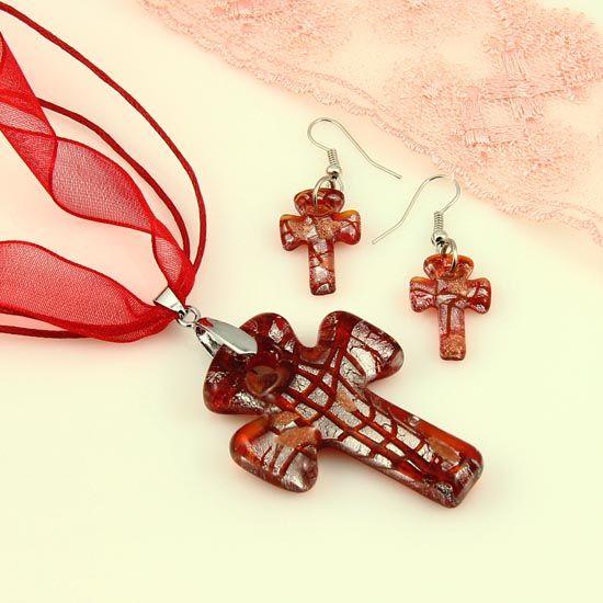 Christain Cross feuille feuille de verre soufflé pendentifs en verre de murano vénitien colliers et boucles d'oreilles ensembles de bijoux fait main bijoux en gros Mus041