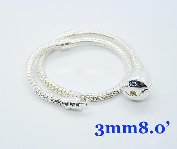 Best Gift 20pcs 925 Silver European Bead Snake chain Bracelet 8.0inch High Quality