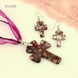 Wholesale Silver Cross Earrings Pendant - Christain Cross foil lampwork blown venetian murano glass pendants necklaces and earrings jewelry sets hand made jewelry wholesale Mus041