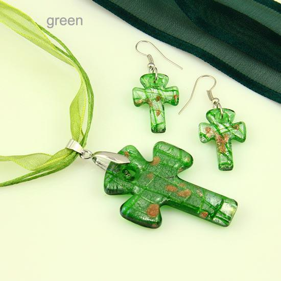 2013 Cross foil lampwork blown venetian murano glass pendants necklaces and earrings jewelry sets handmade cheap fashion jewellery Mus041