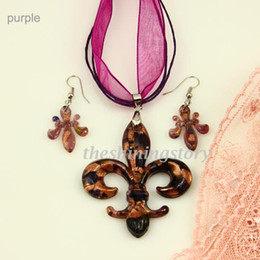 Murano Glass Necklace Sets NZ - Fleur de lis lampwork blown venetian murano glass pendants necklaces and earrings jewelry sets Mus042 fashion necklaces pendnats