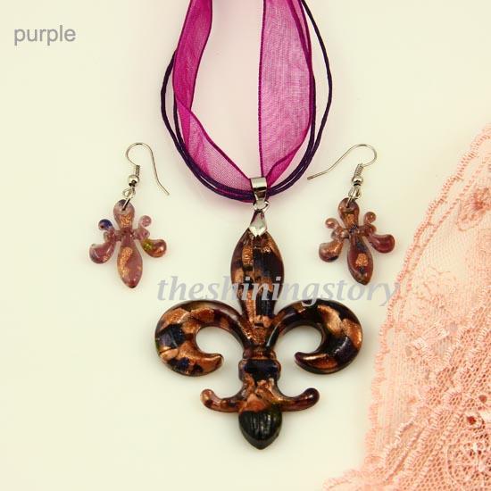 Fleur de lis lampwork blown venetian murano glass pendants necklaces and earrings jewelry sets Mus042 fashion necklaces pendnats