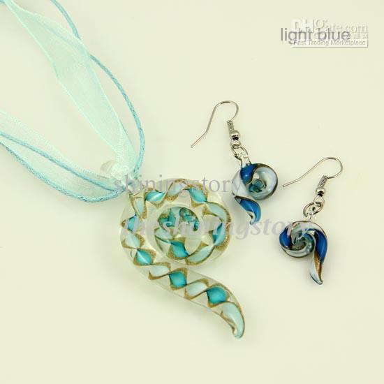 2013 Pipe Murano Lampwork geblasen venezianischen Glas Halsketten Anhänger und Ohrringe Schmuck-Sets handgefertigt Modeschmuck Mus043