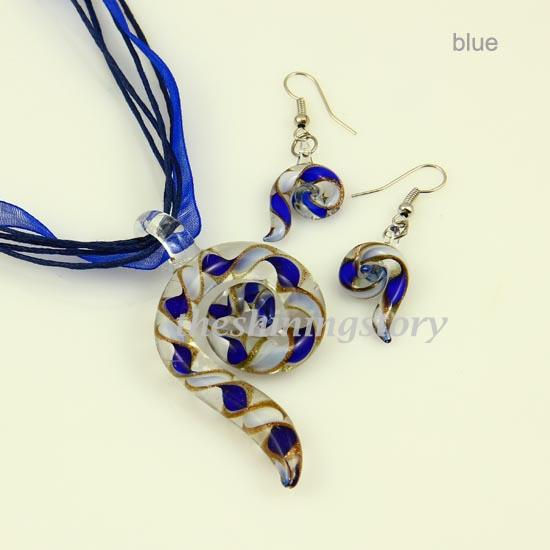 Elegant Pipe lampwork blown venetian murano glass pendants necklaces and earrings jewelry sets hand made ladies' jewelry for women Mus043