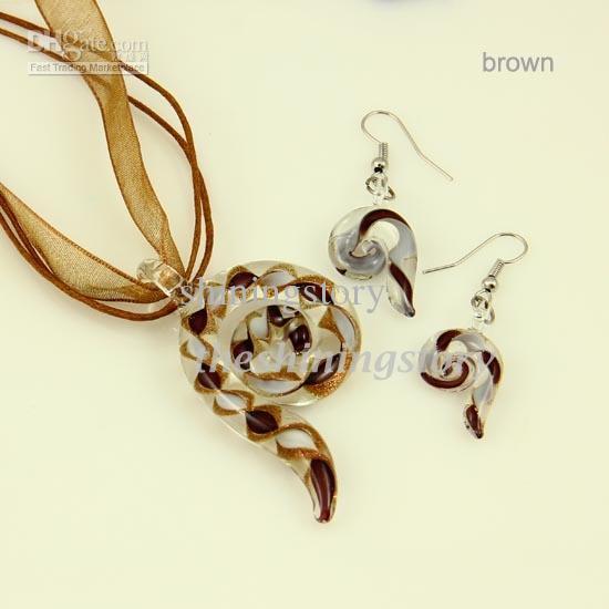 Элегантные трубы ручной работы из дутого венецианского муранского стекла, ожерелья и серьги, комплекты украшений ручной работы, женские украшения для женщин Mus043