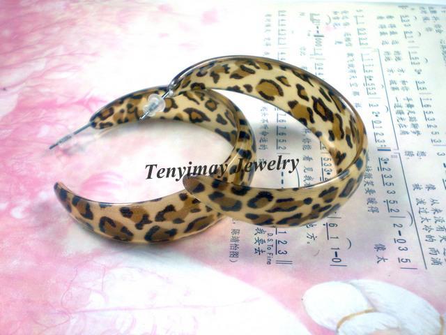 Moda Leopard Kolczyki Darmowa Wysyłka, przesadzone Duży Rozmiar Kolczyki Akrylowe Hurtownie 24 pary