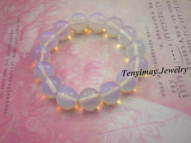 Groothandel 6 stks lichtblauw opaal edelsteen armband, stretch doorschijnend armbanden gratis verzending
