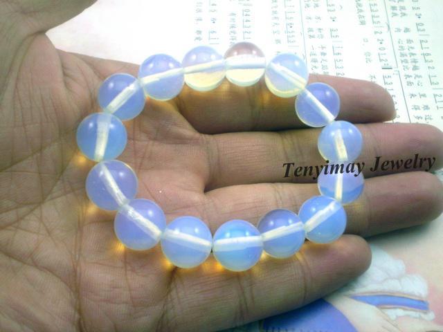 Opal-Edelstein-Armband des Großhandelshellblauer, ausdehnungs-lichtdurchlässige Armbänder geben Verschiffen frei