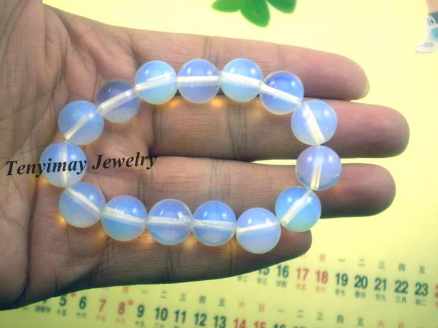 Braccialetto blu-chiaro della pietra preziosa opale all'ingrosso braccialetti traslucidi di allungamento Trasporto libero