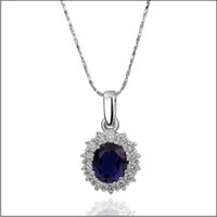 Wholesale Blue Sapphire Gold Necklace - Hot new platinum blue gemstone necklace 18K RGP high-end fashion jewelry free shipping 10piece lot