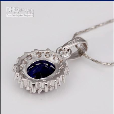 Hot New Platinum Blue Gemstone Necklace 18K RGP High-end Mode Smycken Gratis Frakt 10 Stame / Lot