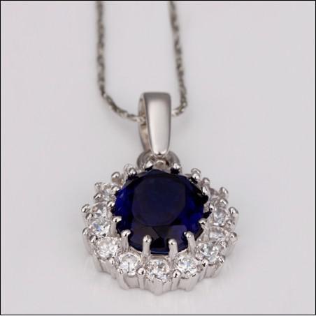 Chaude nouvelle collier de pierres précieuses bleues 18K RGP bijoux de mode haut de gamme livraison gratuite 10piece / lot