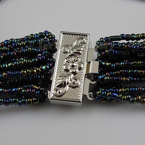 Charmant! 20rows bleu couleur livraison gratuite de bijoux de femme collier de perles d'eau douce A2547