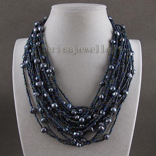 Uroczy! 20Rows Niebieski Kolor Prawdziwy Słodkowodny Perły Naszyjnik Kobiet Biżuteria Darmowa Wysyłka A2547