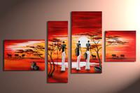 paneles de paisajes de petroleo al por mayor-Pintura al óleo pintada a mano arte africa pintura de paisaje abstrac 4 panel arte de la pared sala de estar decoraciones fotos decoración para el hogar