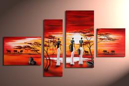 handgemalte ölwandkunst afrika landschaftsmalerei abstrac 4 panel wandkunst wohnzimmer dekorationen bilder wohnkultur im Angebot