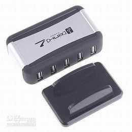 Wholesale Usb Hub Ac Power Adapter - USB 7-Port 2.0 HUB combo Powered Splitter + AC Adapter Cable High-Speed US UK AU EU Plug 480 Mps