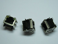 Wholesale Network Modular Pcb Jack - 60 pcs RJ45 Modular Network PCB Jack 56 8P with LED Lamp Side entry