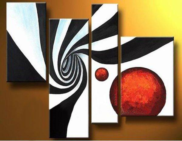 handmade oil painting wholesale 4 panels red black white abstract painting 4 panel wall art fine art paintings modern sofa set design