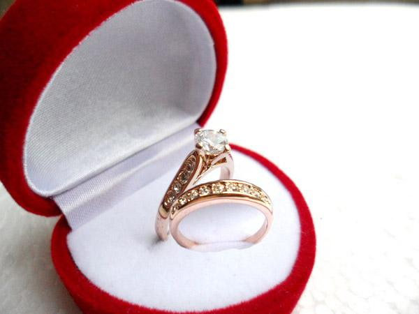 5set 18K Rose gold plating finger ring Valentine s Day gift jewely  Simulated Diamond Rings circle N2