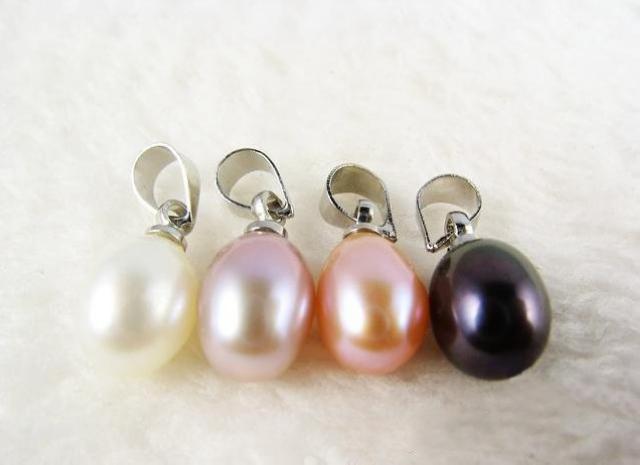 淡水パールペンダントナチュラル8mmドロップ形状完璧な滑らかな真珠の魅力送料無料