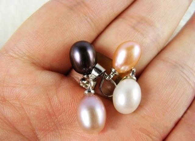 Freshwater pearl pendants natural 8mm drop shape flawless smooth pearl charms