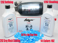 Wholesale Blue Tattoo Ink 1oz - Tattoo Ink 14 Colors 1OZ+3 Bottles Of 12OZ Black Tattoo Ink Pigment+50 Blue Ink Cups Free For Kit