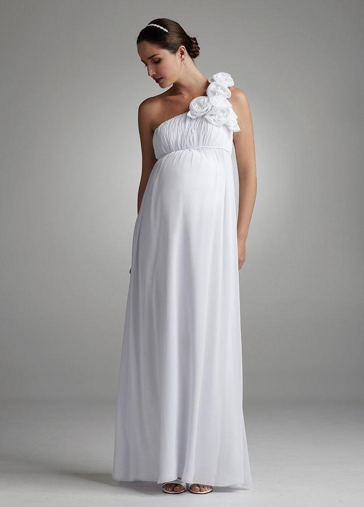 Floral One Shoulder Chiffon Maternity Bridal Gown Empire Wedding ...