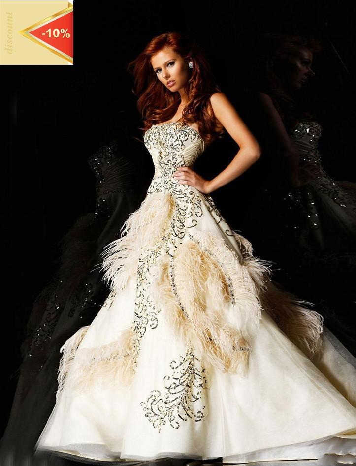 2012 Luxury Ball Gown Strapless Stain Feather Court Train ...