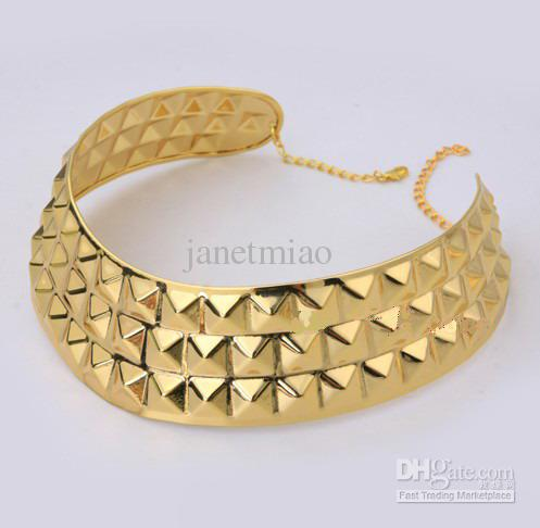 2012 Womens Gold-plated Choker Necklace Metal Collar Neckline Necklace 2012 Hot Sale PS-YLN04
