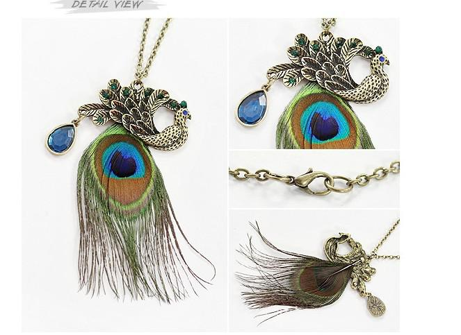 Nice Gorgeous Blue Eyes Peacock Long Feather Necklace Peacock Long Feather Pendant Necklaces Peacock Feather Sweater Chain