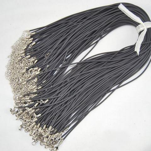 Groothandel 100 stks / partij 2mm zwart lederen ketting koorden voor charme ketting gratis verzending