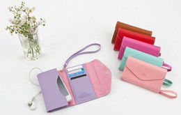 Wholesale Credit Card Holder Lanyard - For 4 Horizontal Flip Leather Pouch Case With Card Slot and Lanyard 20 pcs lot