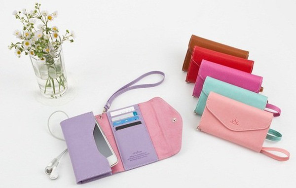 For 4 Horizontal Flip Leather Pouch Case With Card Slot and Lanyard 20 pcs lot