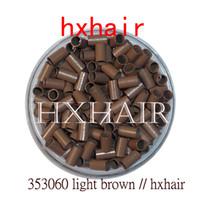 kupferrohr mikroverbindungen großhandel-10000pcs 3,5 mm Kupferrohr Mikroringe / Links Perlen / Schwarz D-Braun Braun L-Braun Blond