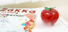 Wholesale 3d Crystal Puzzle Wholesale - Hottest Sale Apple Shaped Style 3D Crystal Block Puzzles Toy 2 Color Mixed Orderhigh quality5pcs