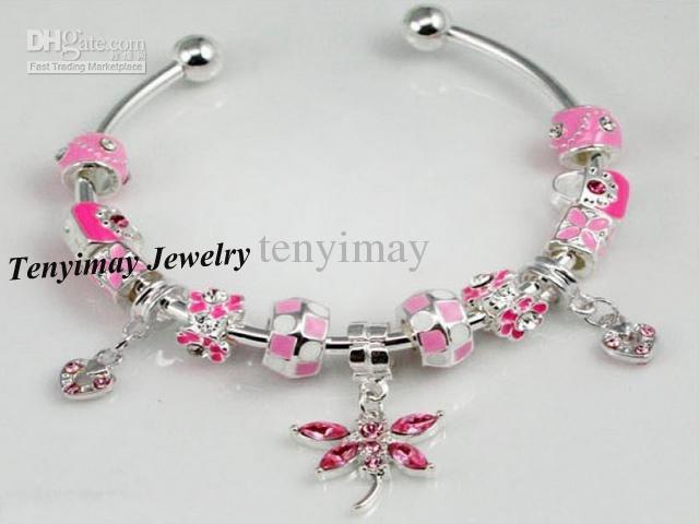 Wholesale Silver Plated Opened Charm Bangle, Alloy Beaded Bangle
