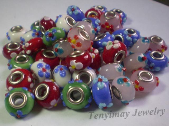 Lampwork Glass Loose Beads convexa patrón de flor envío gratis color mezclado