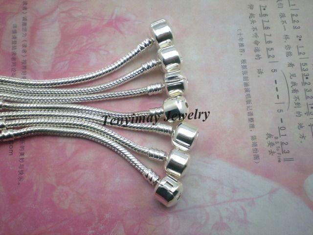 Moda 20 adet / grup Gümüş Kaplama Yılan Zincir Charms Bilezikler DIY Ücretsiz Nakliye Için
