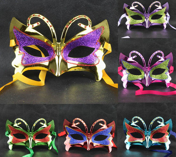 Halloween party supplies plating mask small butterfly Ms. mask (with a variety of hair) masquerade