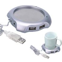 häfen usb hub großhandel großhandel-Wholesale Freies Verschiffen 5 Teile / los Neue USB 4 Ports Hub Warme Kaffeetasse Wärmer Gadget Heizung