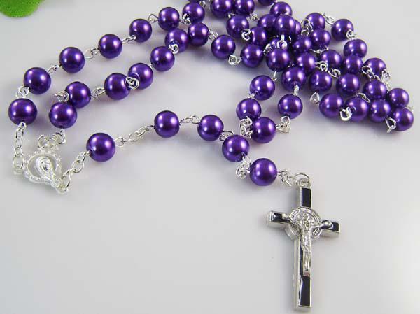 2017 retail purple rosary necklace chain jesus cross pendant