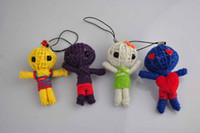 Wholesale Ethnic Fashion Dolls - Tiny Ethnic Voodoo Doll Wizard Witch Key Bag Accessories Fashion Straps Toy 100% Handmade 30pcs