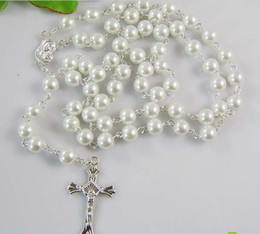 Wholesale Wholesale Sterling Silver Rosaries - Silver Jewelry white Pearl beads Rosary Necklace 925 Sterling Silver jesus Cross pendant Necklace
