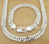 erkekler 925 gümüş kolyeler bilezikler toptan satış-925 gümüş noel hediyesi 925 gümüş seti erkekler Bilezikler 925 gümüş zincir kolye 10 MM Erkekler Kolye bilezik SETI, Takı seti mens takı
