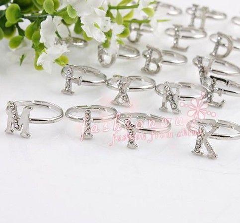 Fresh Rhinestone Single Letter Alphabet Ring
