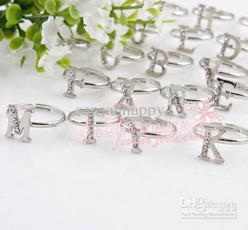 Anello di alfabeto di lettera singola strass fresco