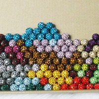 Wholesale Rhinestone Pave 14mm - New DIY 8 10 12 14mm handmade mix color hand chain crystal beads rhinestone pave ball jewelry #09